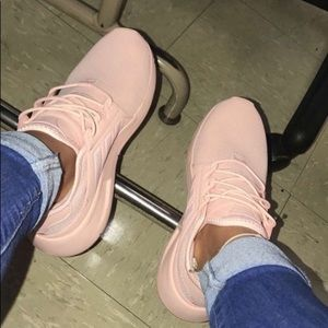 Adidas all pink running shoes